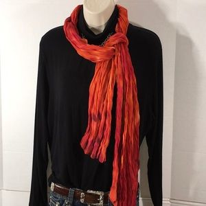 Chico's flame red long silk scarf